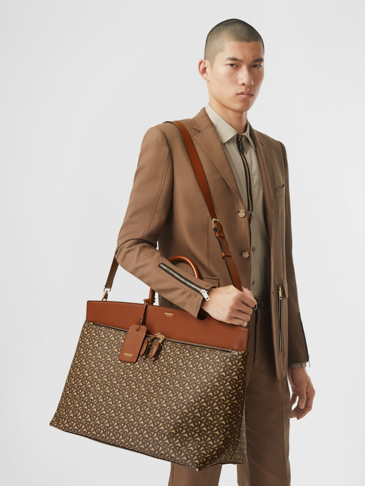 Extra Large Monogram E-canvas Society Top Handle Bag in Bridle Brown