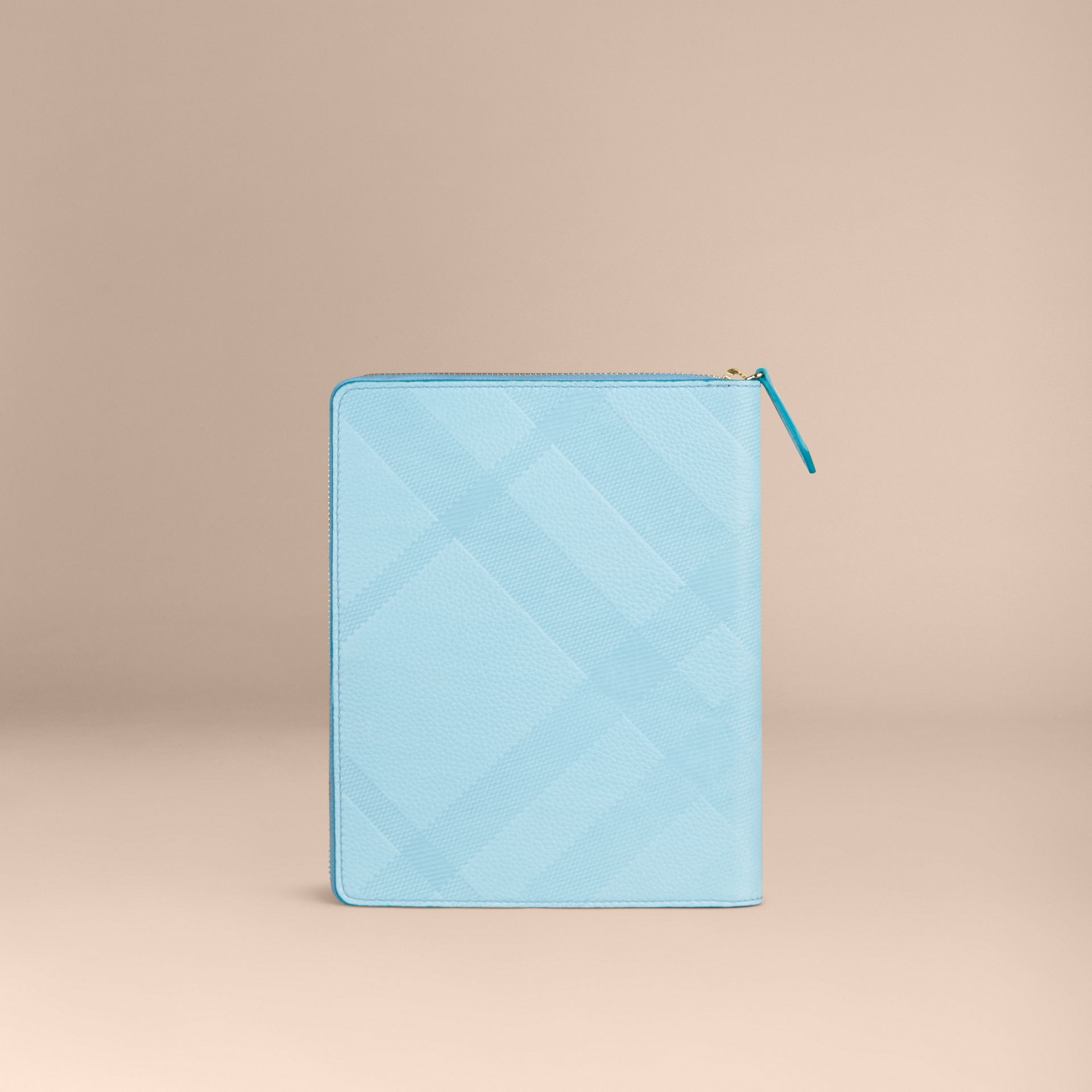 Bright mineral blue Ziparound Check-Embossed Leather A5 Notebook Bright Mineral Blue - gallery image 4