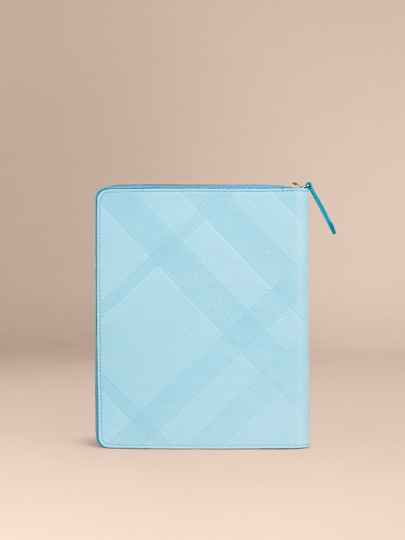 Bright mineral blue Ziparound Check-Embossed Leather A5 Notebook Bright Mineral Blue - cell image 3