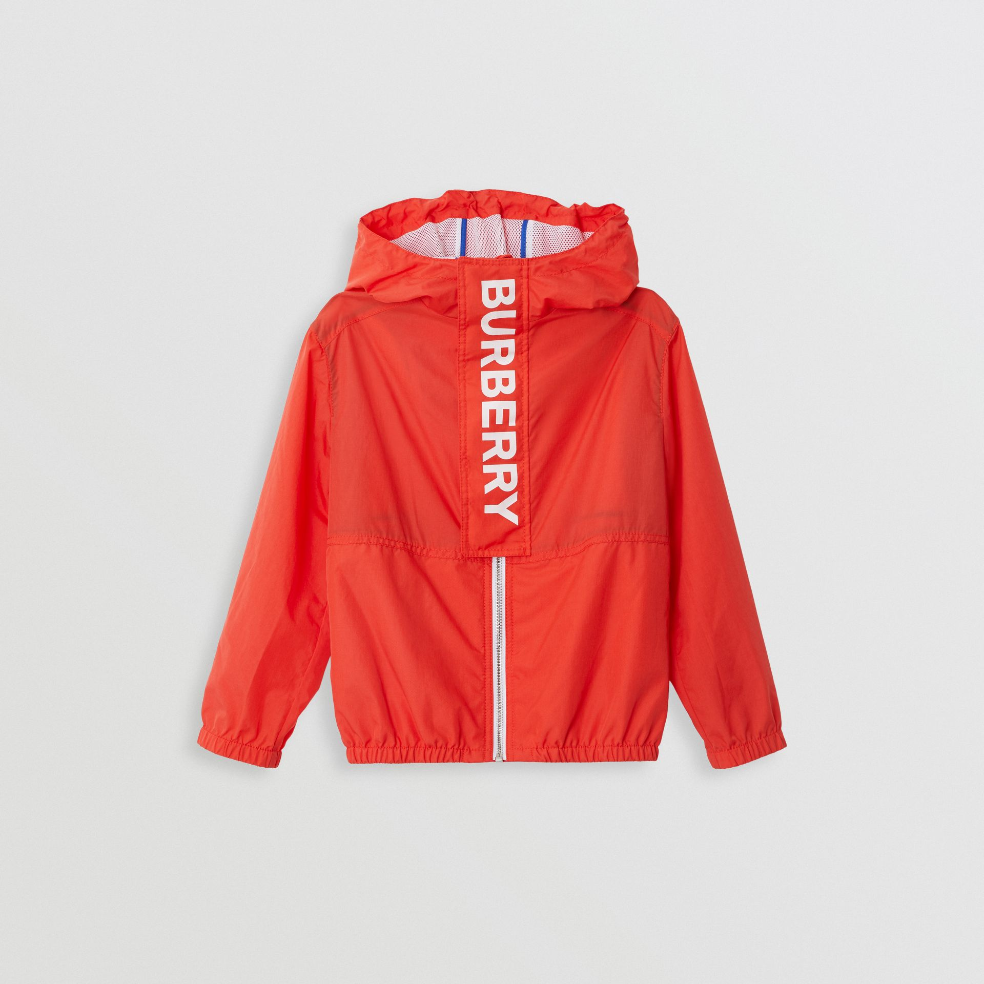 Logo Print Lightweight Hooded Jacket in Orange Red | Burberry Australia - gallery image 0