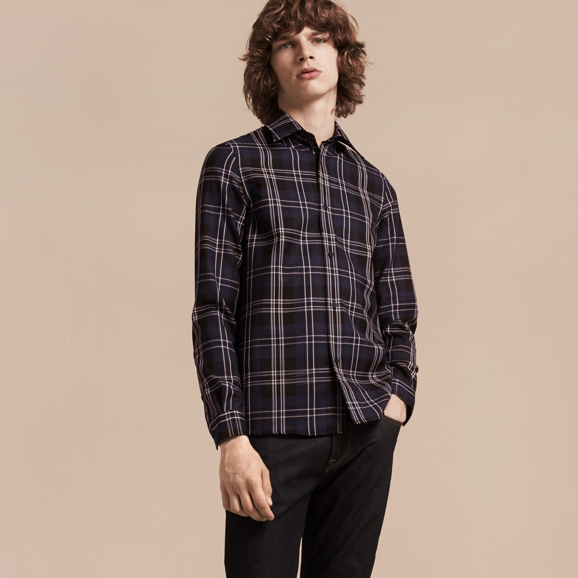 Bright navy Check Wool Shirt Bright Navy - gallery image 6