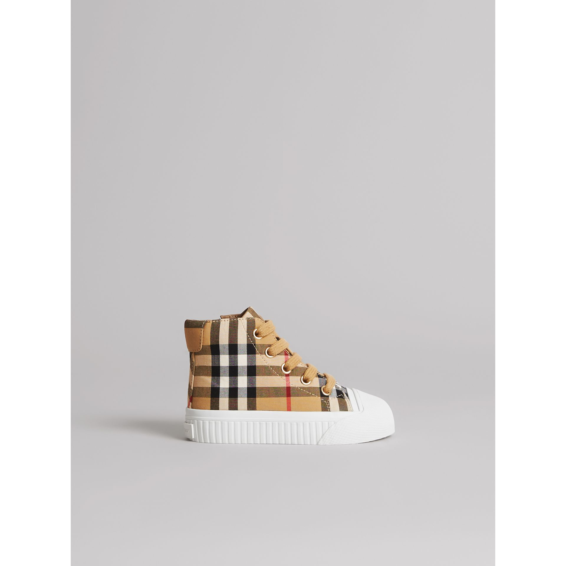 Vintage Check and Leather High-top Sneakers in Antique Yellow/optic White - Children | Burberry Canada - gallery image 3