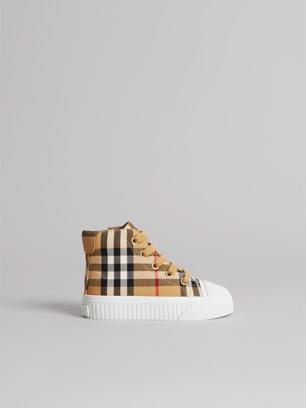 Vintage Check and Leather High-top Sneakers in Antique Yellow/optic White - Children | Burberry Canada - cell image 3
