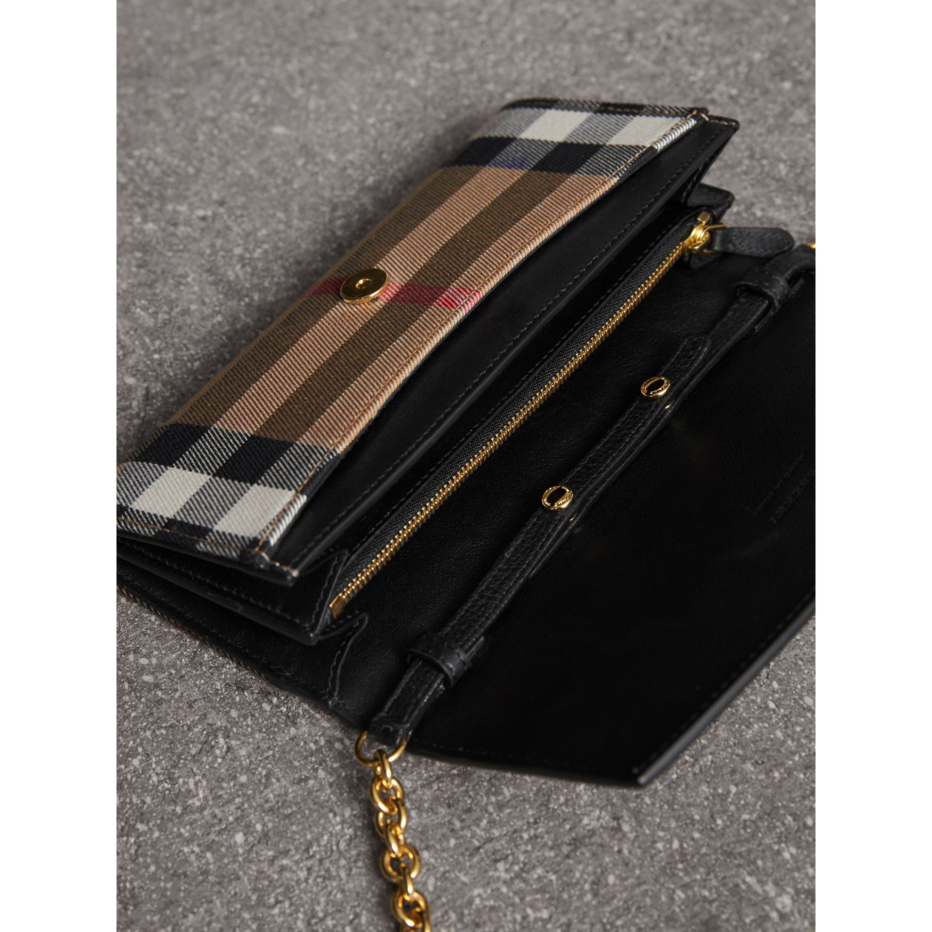House Check and Leather Wallet with Chain in Black - Women | Burberry United Kingdom - gallery image 5