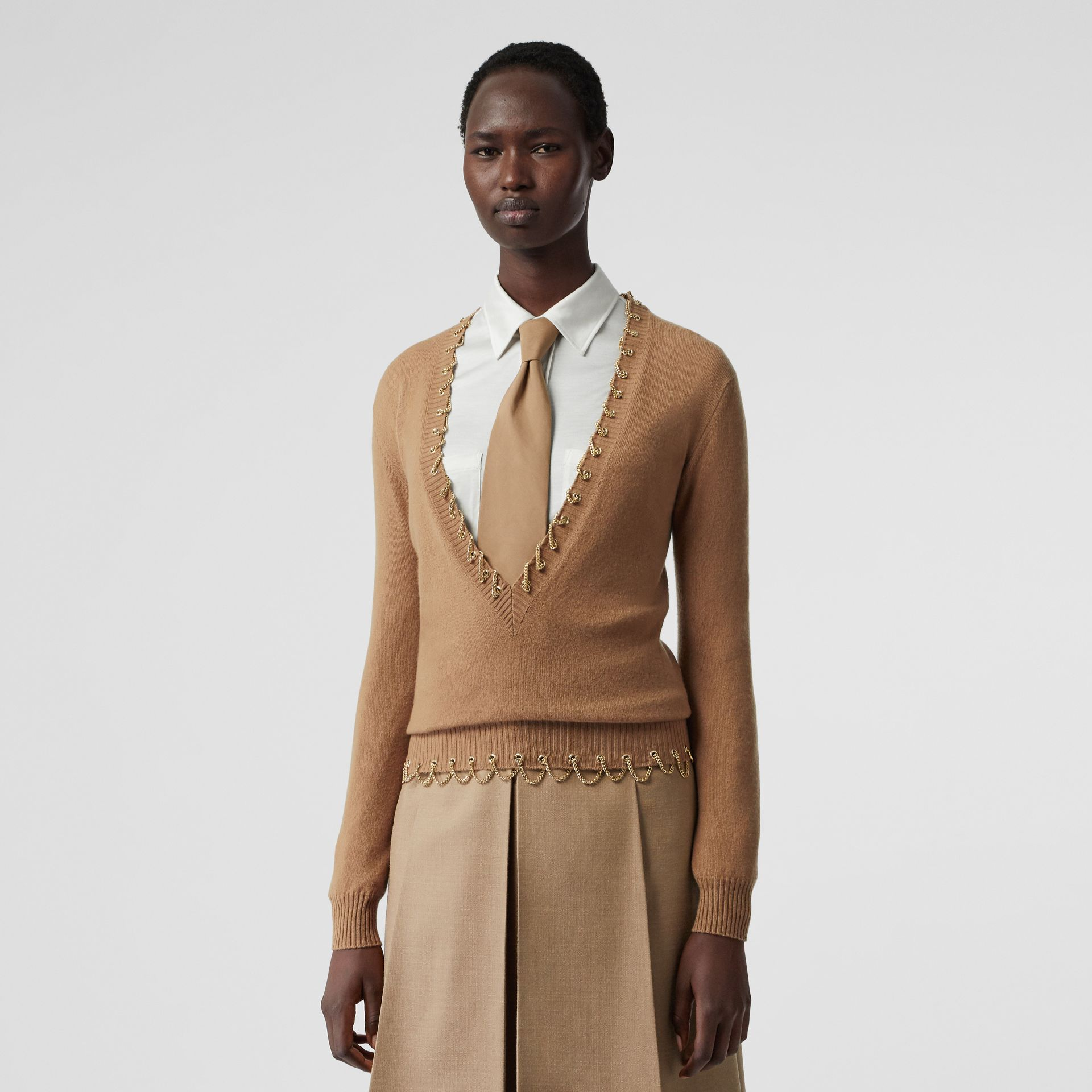 Chain Detail Cashmere Sweater in Camel - Women | Burberry - gallery image 0