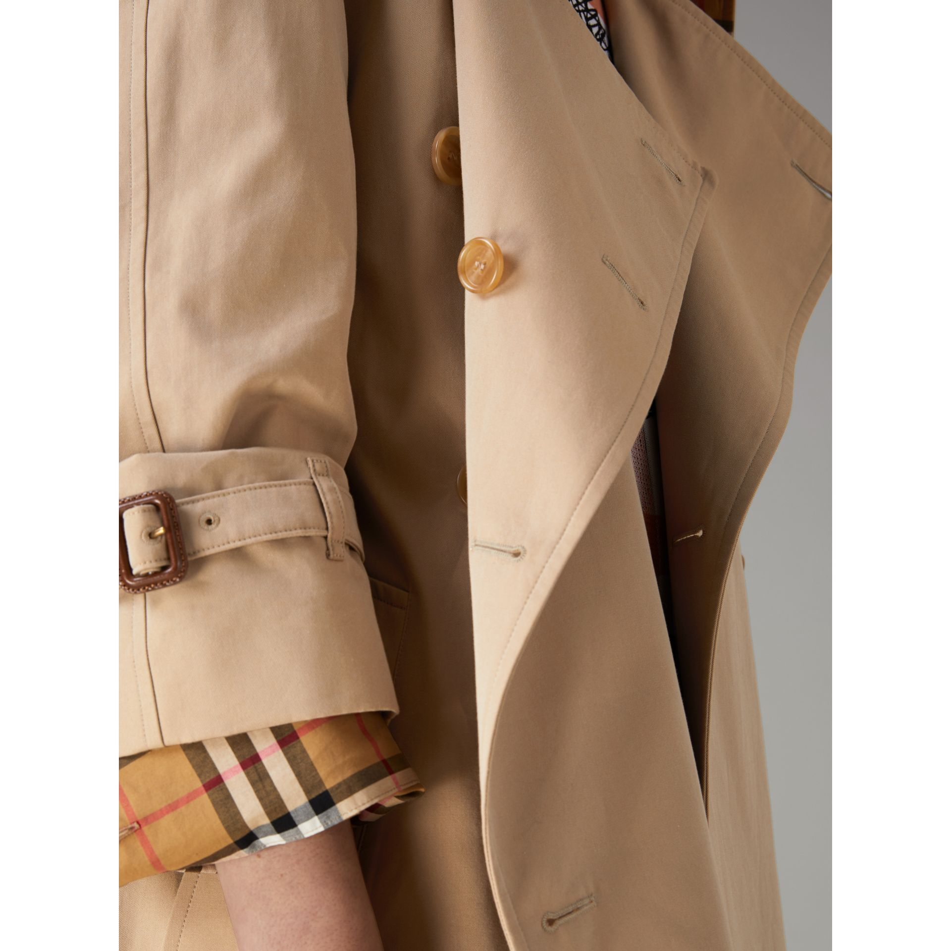 Exaggerated Collar Cotton Gabardine Trench Coat in Honey - Women | Burberry United Kingdom - gallery image 1
