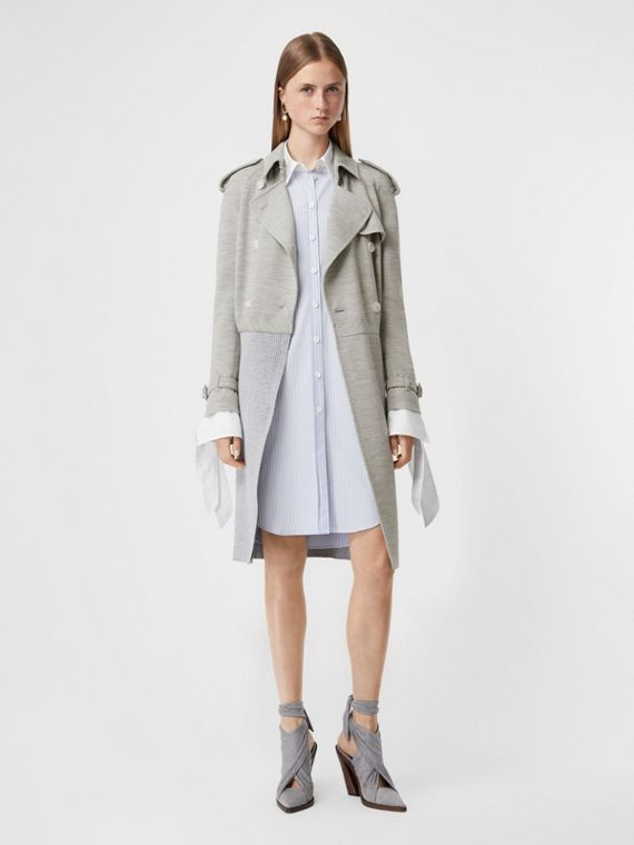 Technical Wool Reconstructed Trench Coat in Grey Melange
