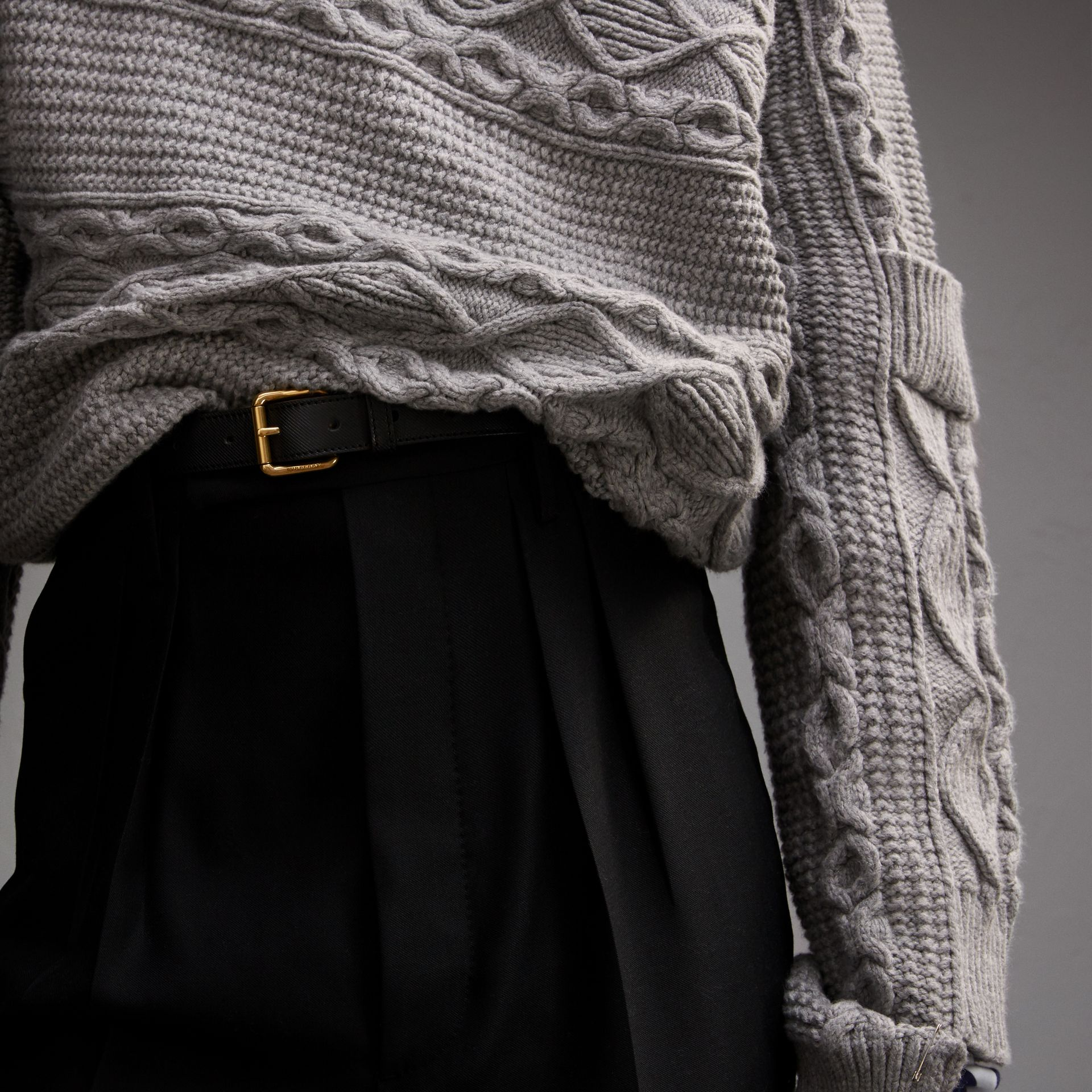 Cable and Rib Knit Collage Cotton Blend Sweater - Men | Burberry - gallery image 5