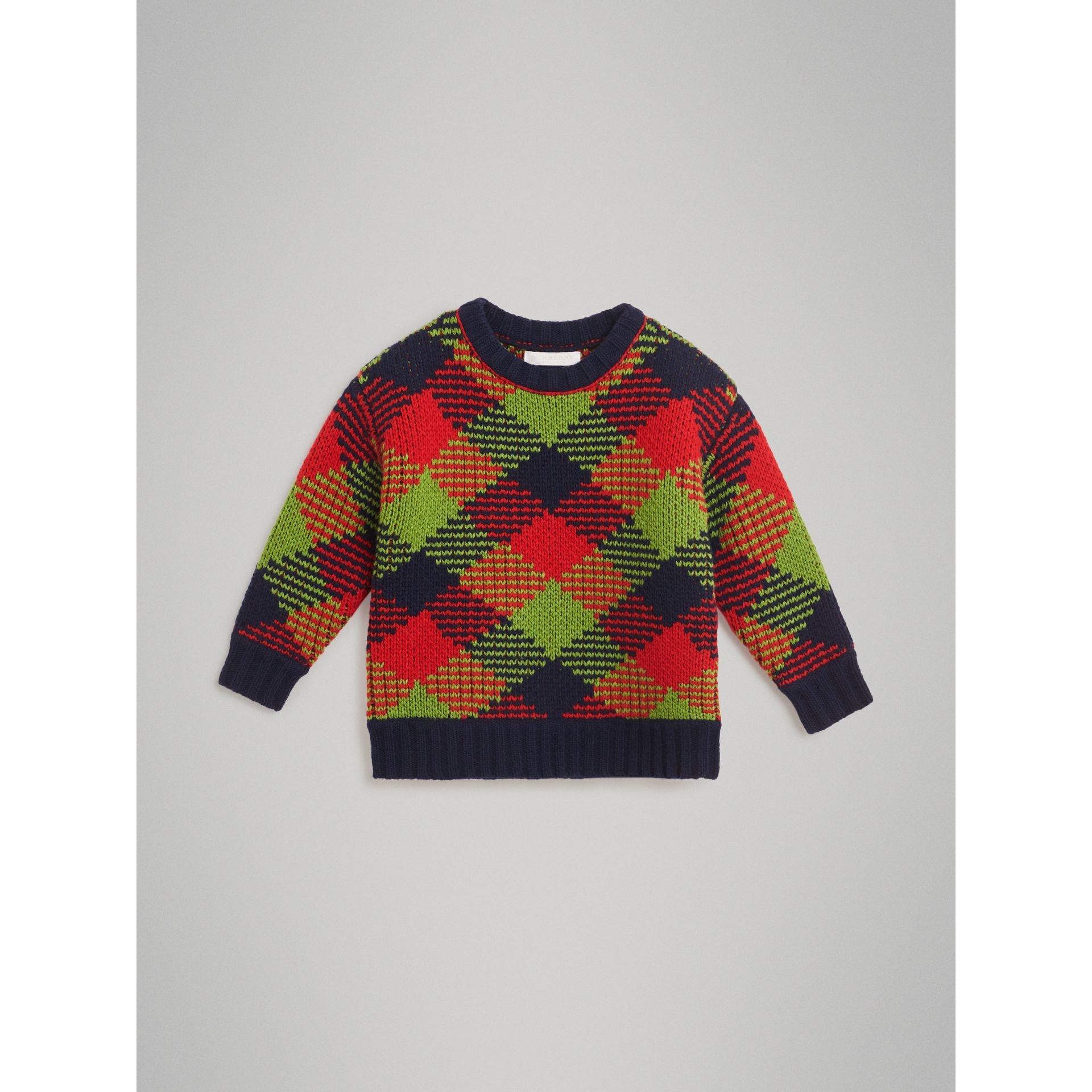 Check Intarsia Wool Blend Sweater in Bright Red | Burberry - gallery image 0