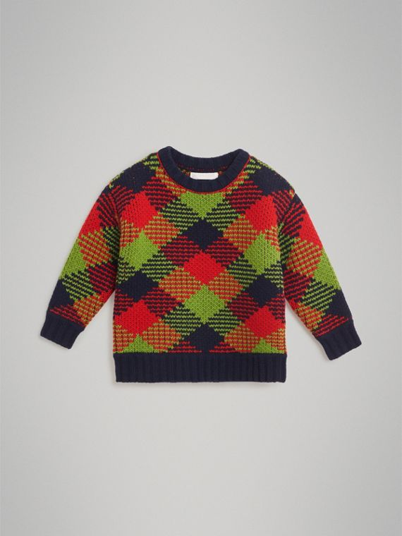 Check Intarsia Wool Blend Sweater in Bright Red