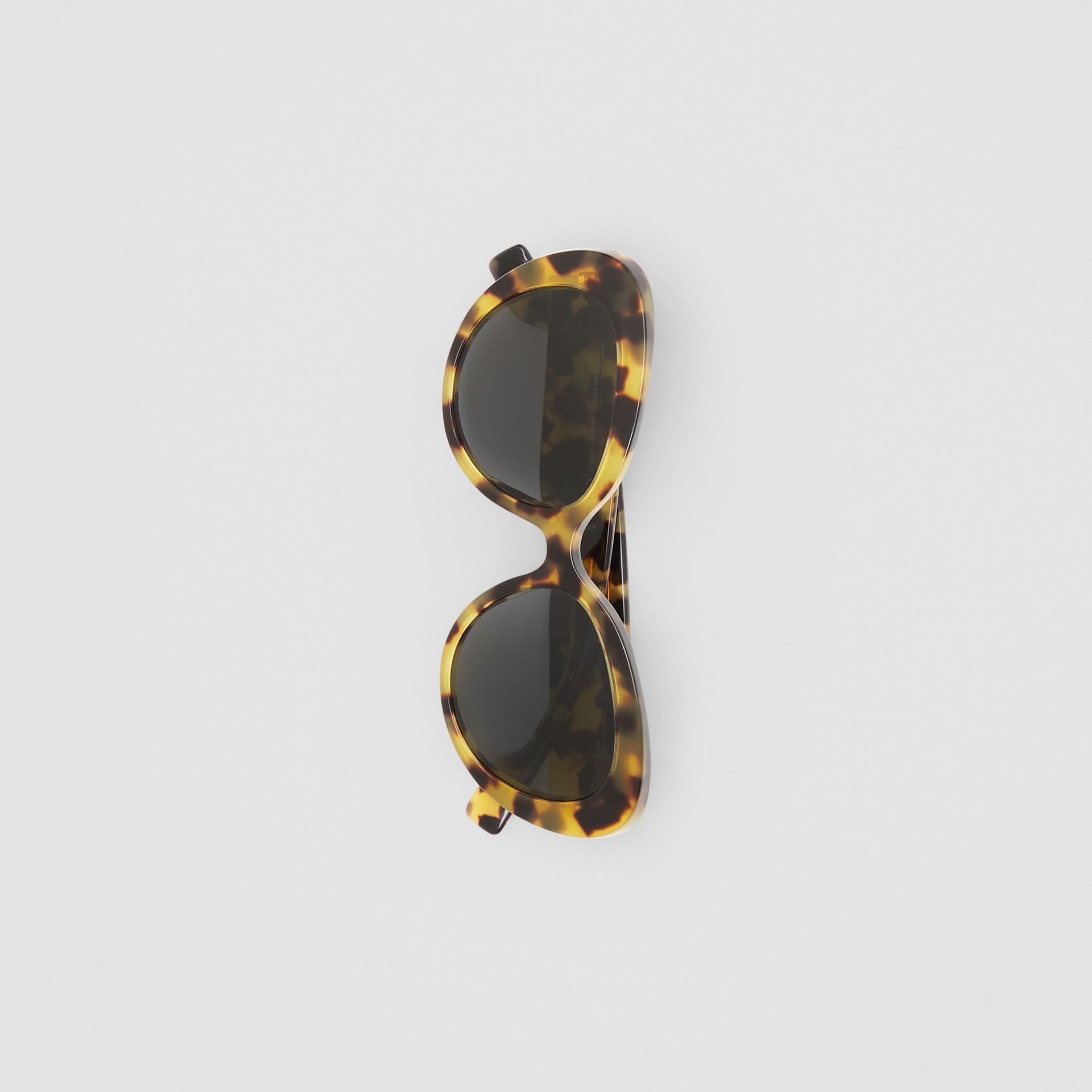 Monogram Motif Cat-eye Frame Sunglasses in Bright Tortoiseshell - Women | Burberry United Kingdom - gallery image 3