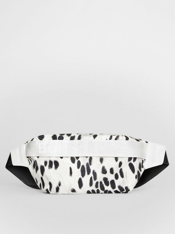 Medium Animal Print Nylon Bum Bag in Black