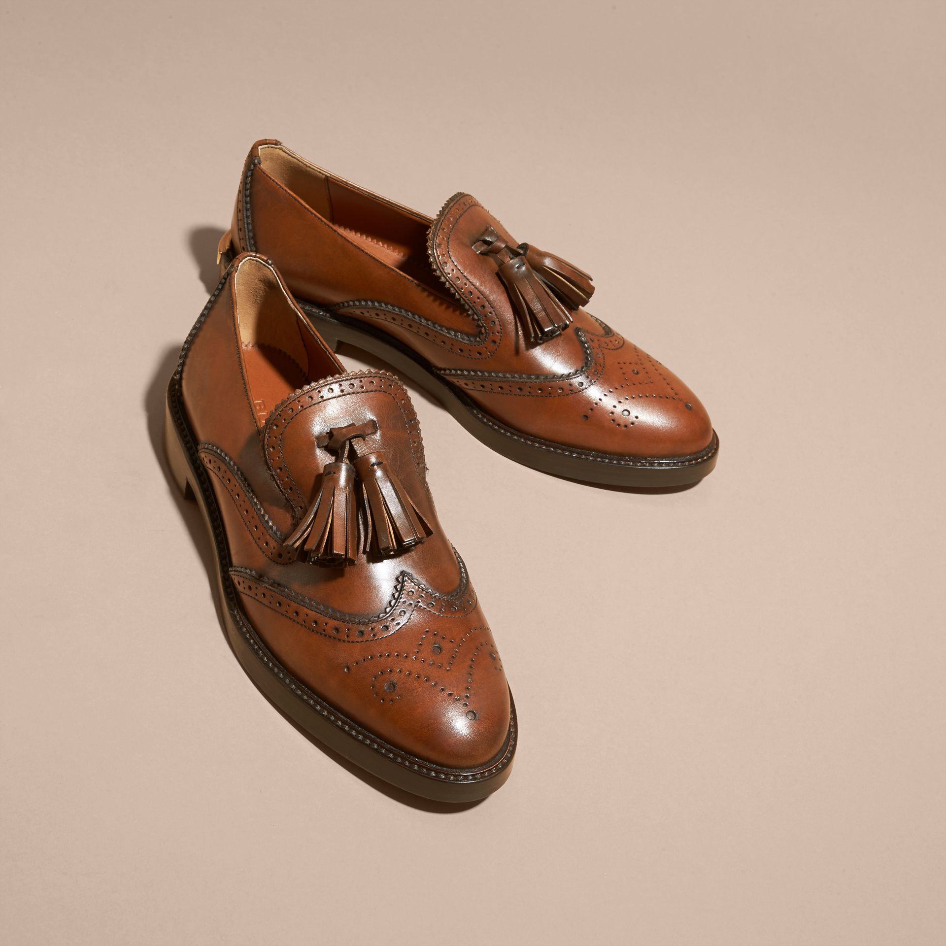 Leather Tassel Loafers Bright Camel - gallery image 3