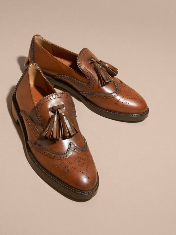Bright camel Leather Tassel Loafers Bright Camel - cell image 2