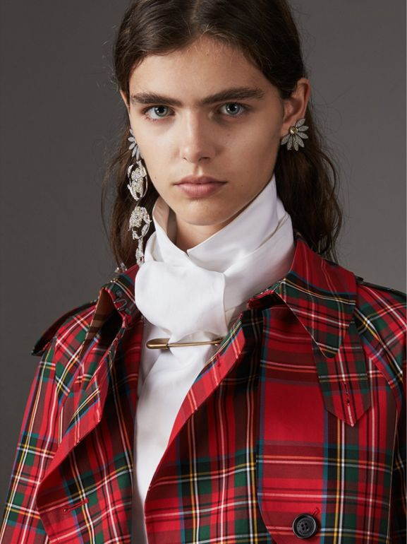 Tartan Cotton Gabardine Trench Coat in Bright Red - Women | Burberry - cell image 1