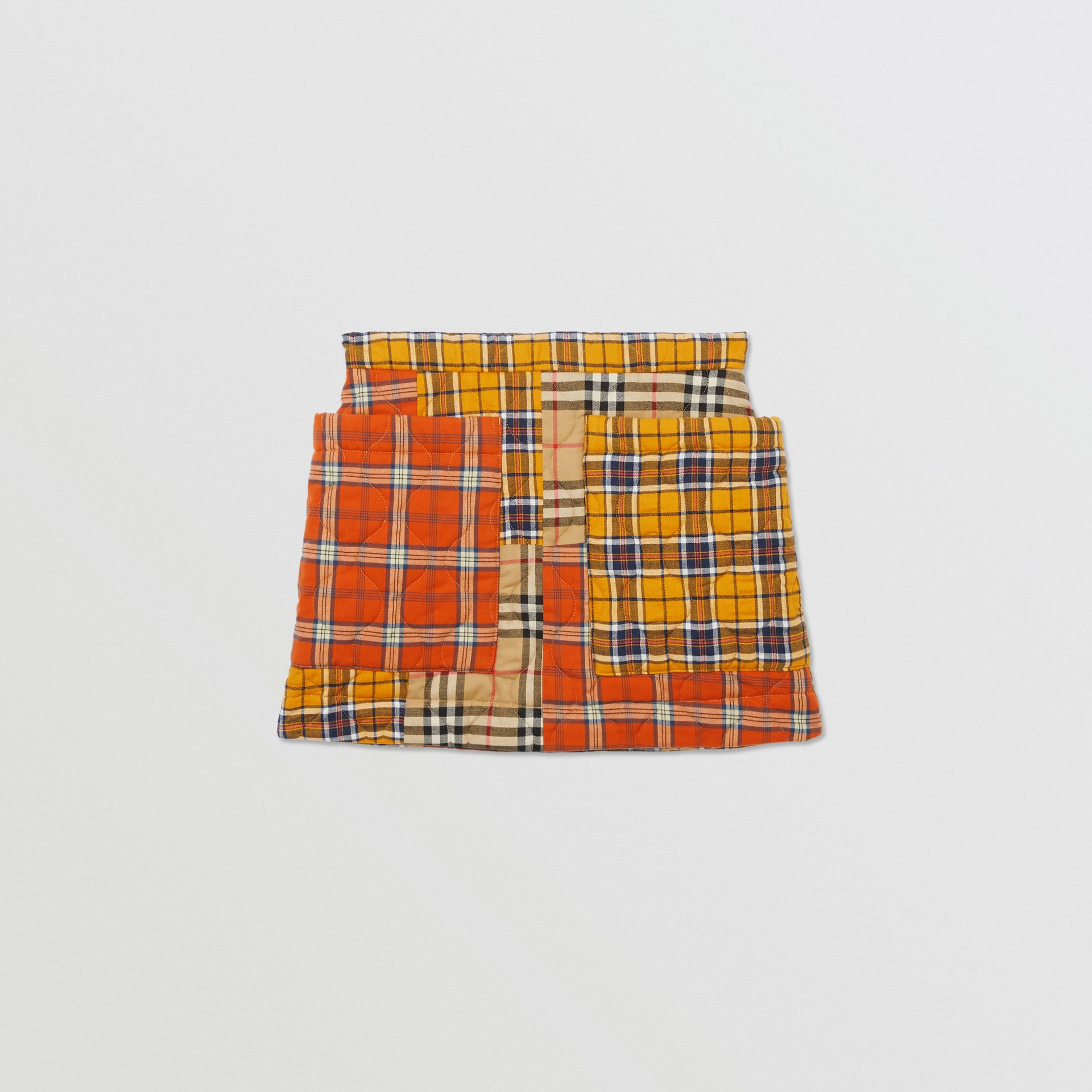 Patchwork Check Cotton Flannel Skirt in Souwester Yellow | Burberry United Kingdom - gallery image 0