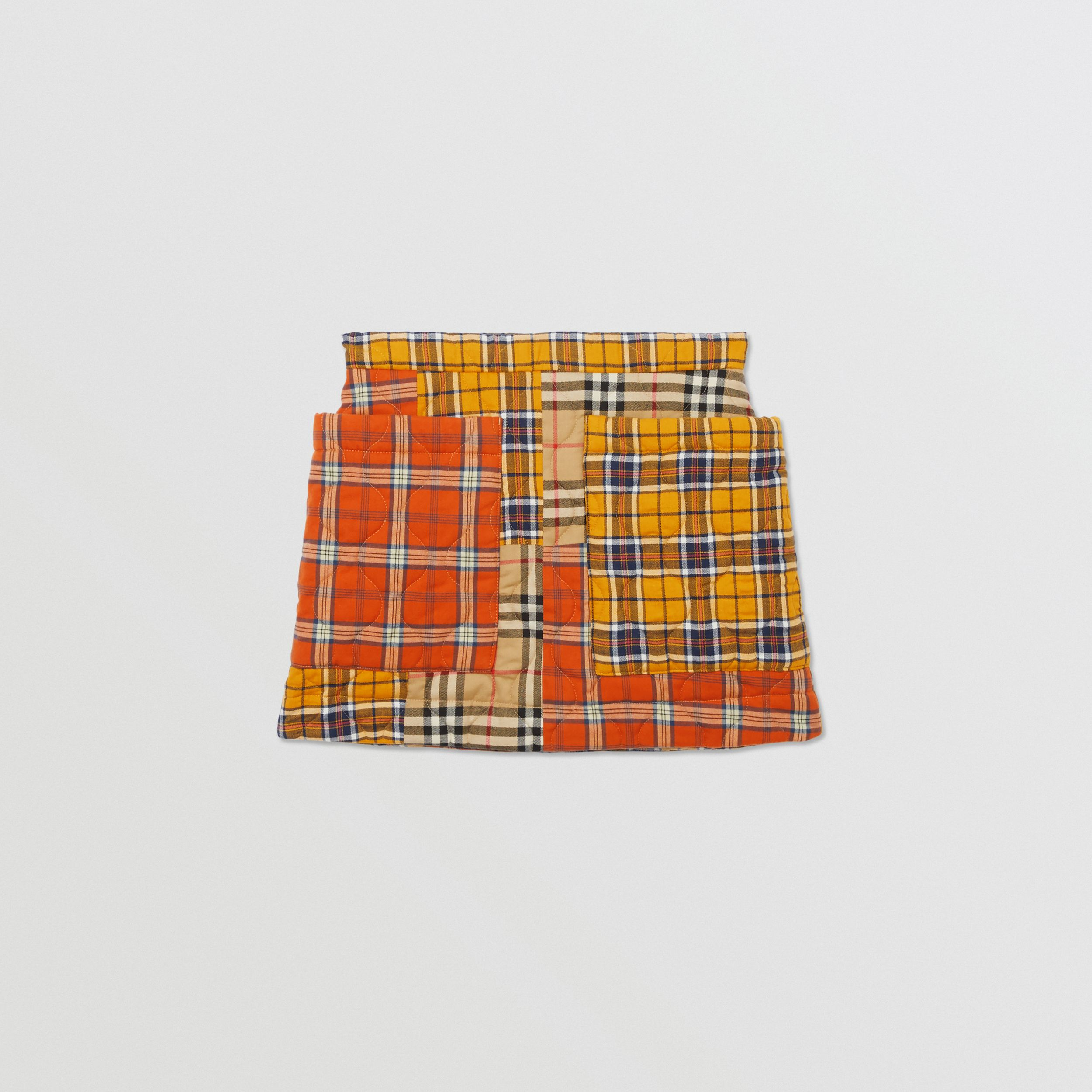 Patchwork Check Cotton Flannel Skirt in Souwester Yellow | Burberry - 1