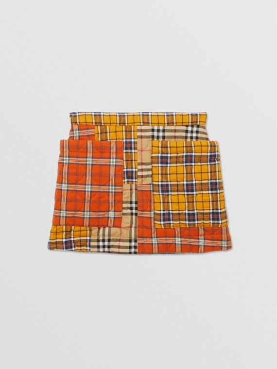 Patchwork Check Cotton Flannel Skirt in Souwester Yellow