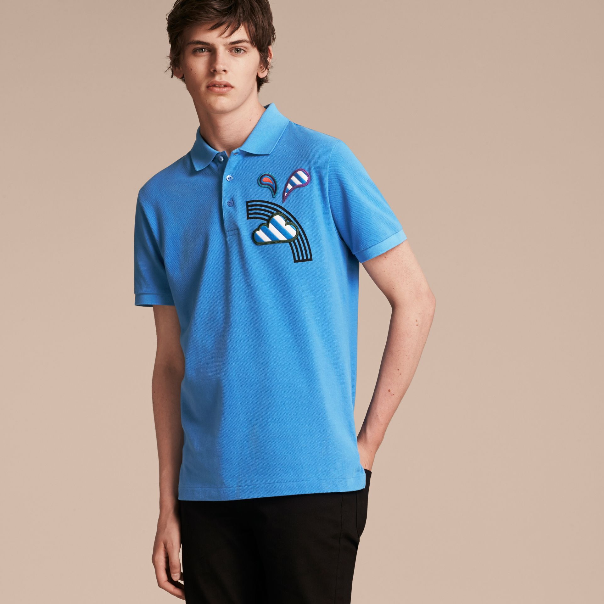Weather Appliqué Cotton Piqué Polo Shirt Chalk Blue - gallery image 6