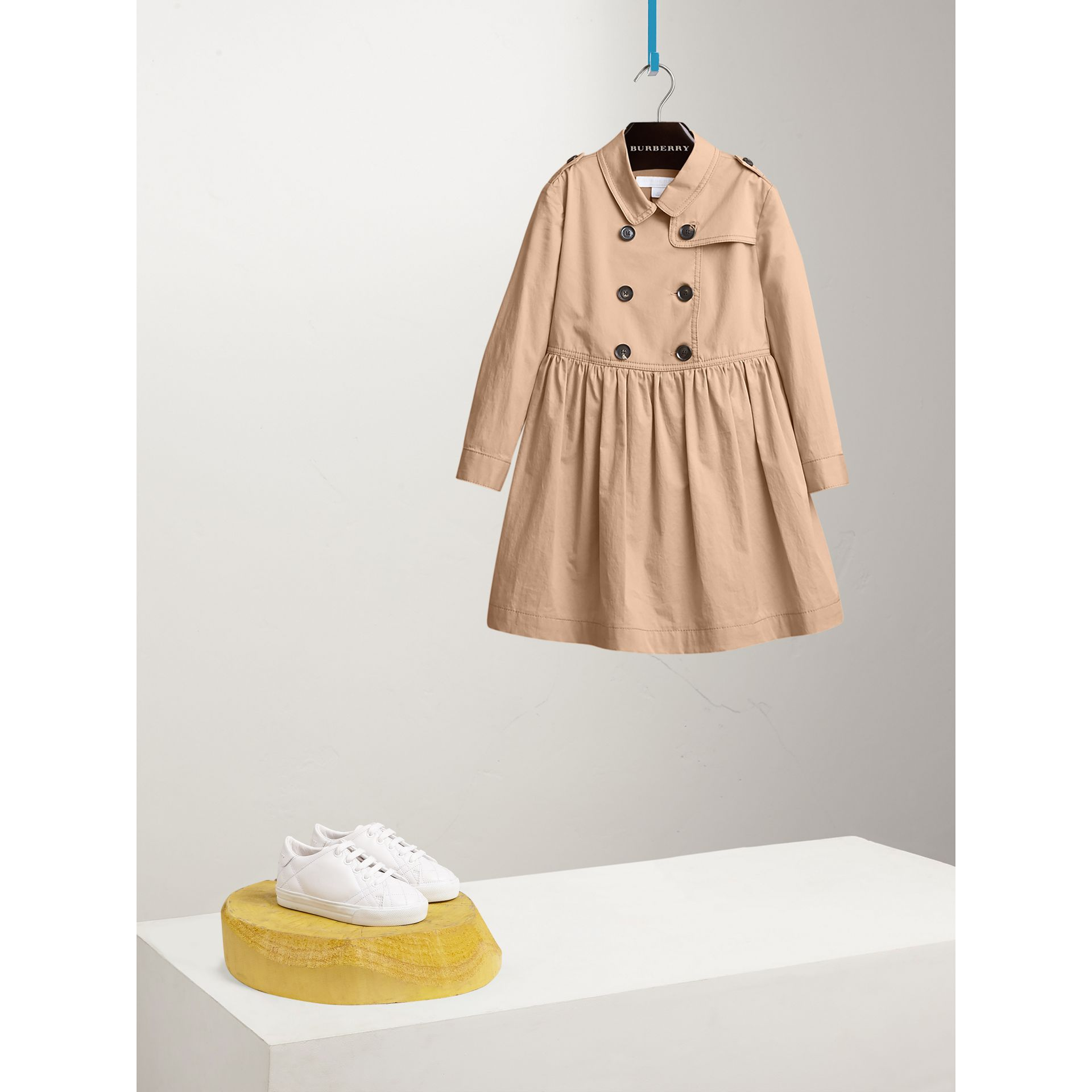 Check Detail Stretch Cotton Trench Dress in Honey - Girl | Burberry - gallery image 0
