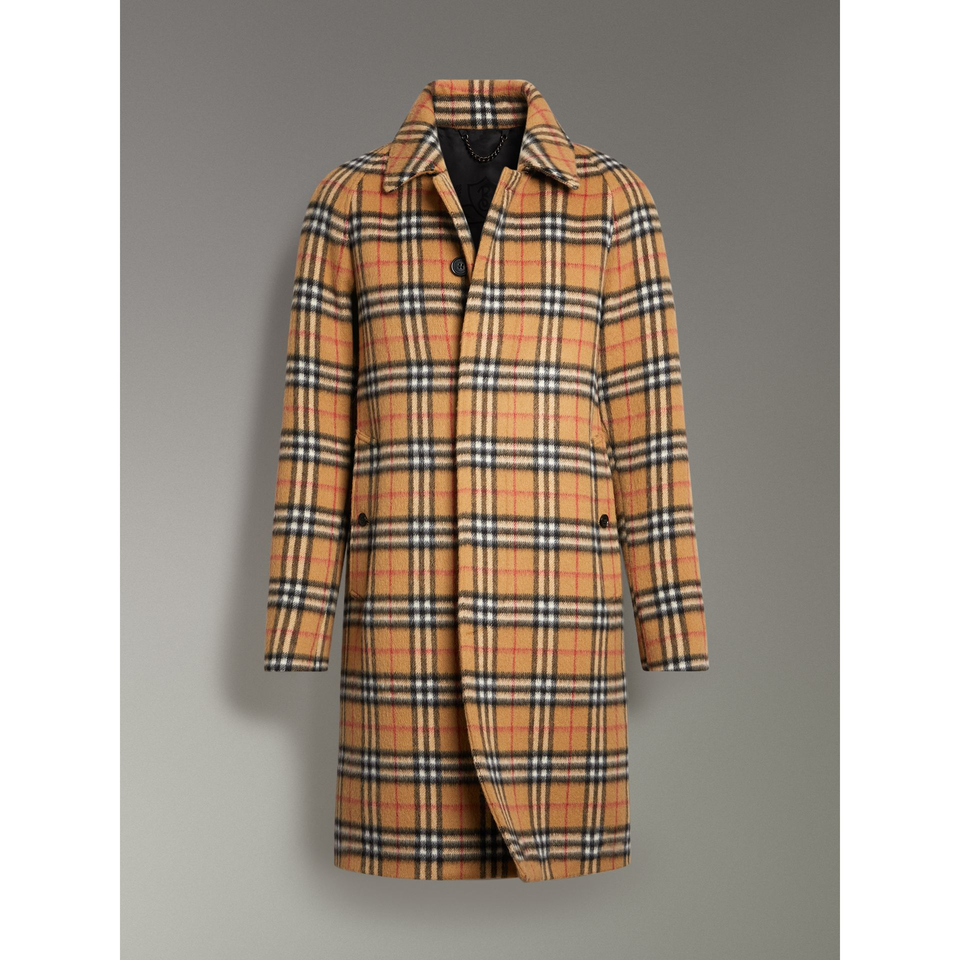 Vintage Check Alpaca Wool Car Coat in Antique Yellow - Men | Burberry - gallery image 3