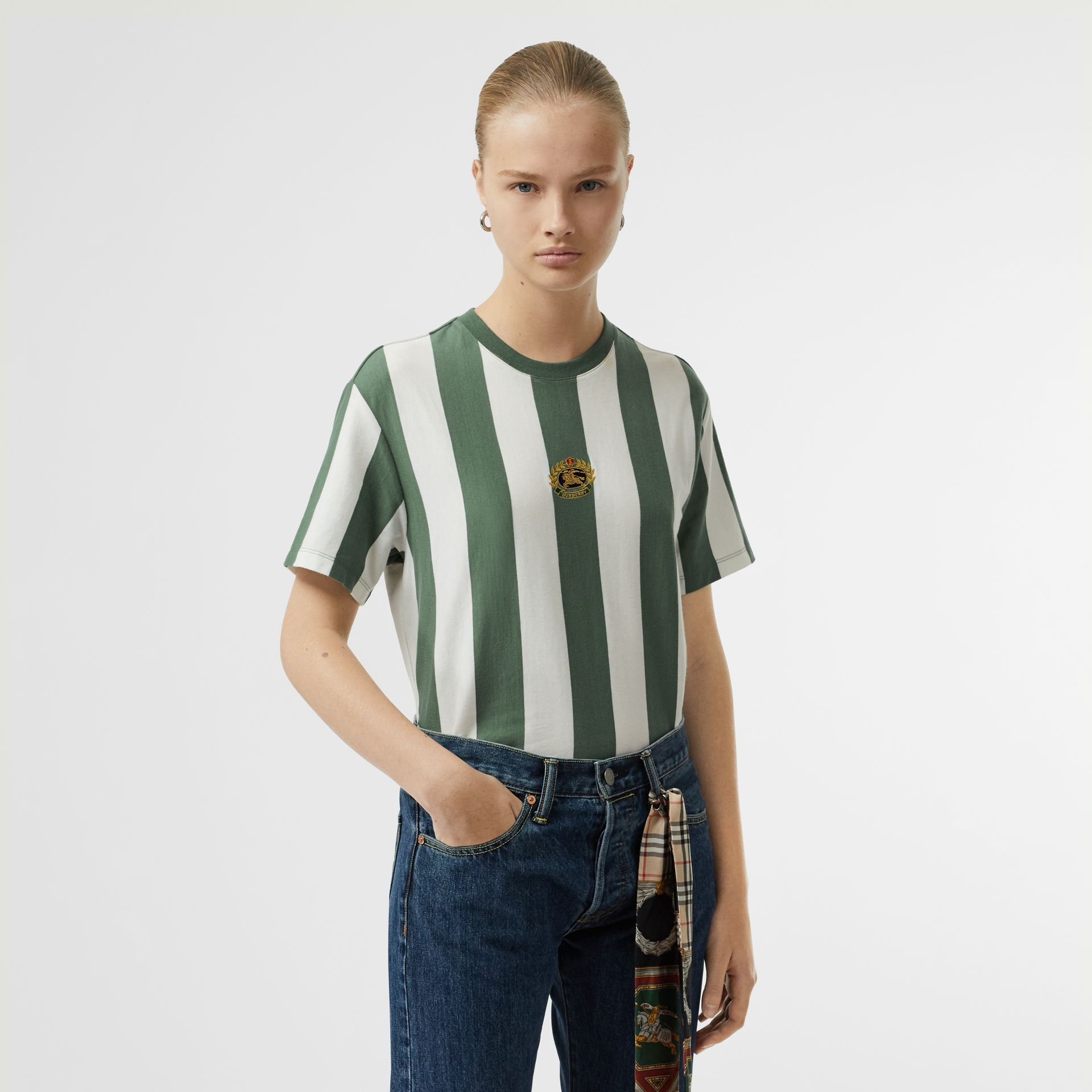 Embroidered Crest Striped Cotton T-shirt in Forest Green - Women | Burberry - gallery image 0