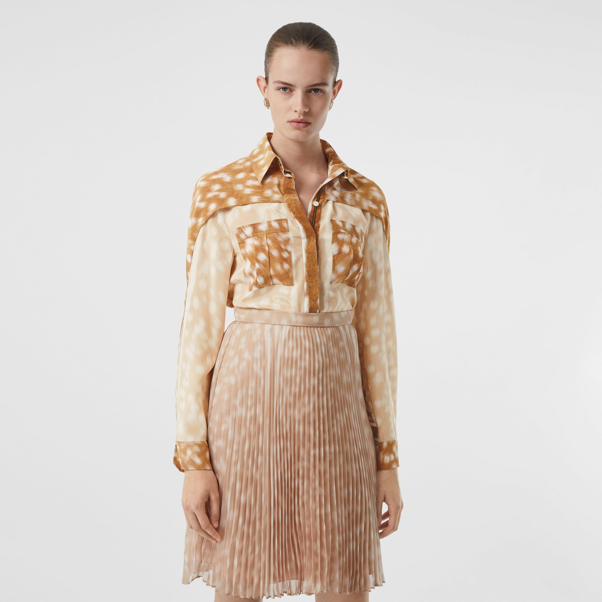 Cape Sleeve Deer Print Silk Shirt in Soft Fawn - Women | Burberry United Kingdom - gallery image 0