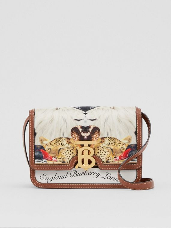 Small Animalia Print Silk and Leather TB Bag in Tan