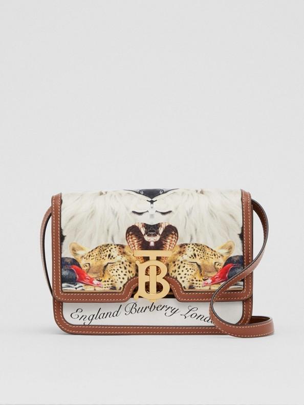 Small Animalia Print Silk and Leather TB Bag in Tan