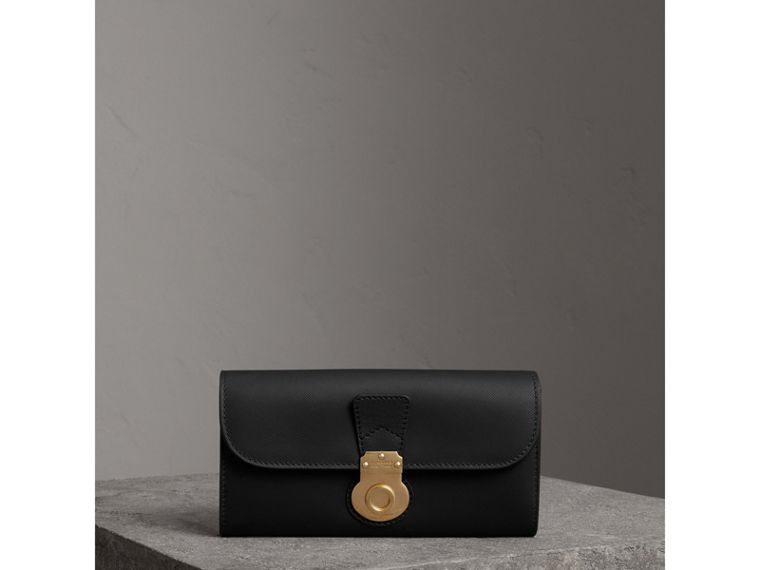 Trench Leather Continental Wallet in Black - Women | Burberry - cell image 4