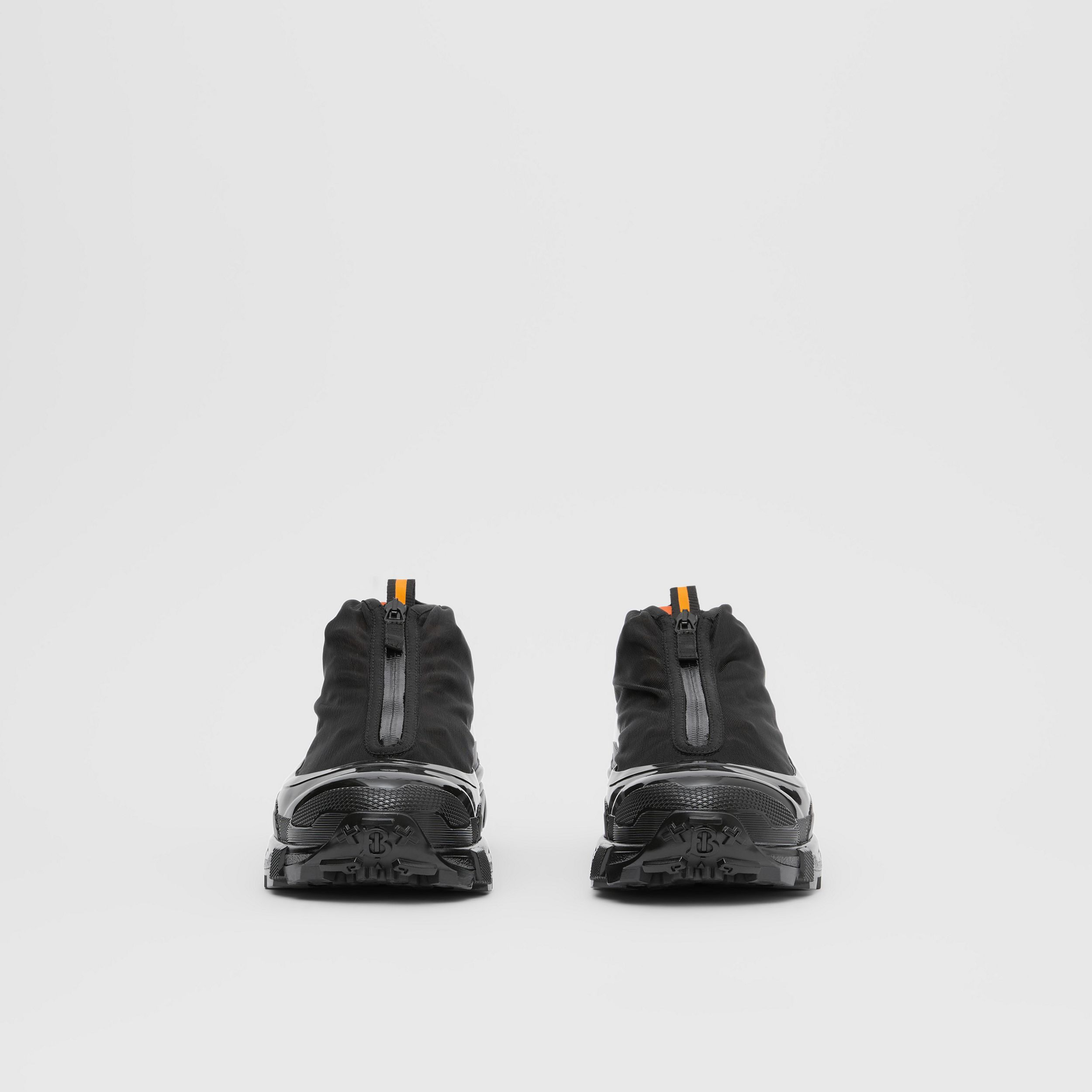 Nylon and Suede Arthur Sneakers in Black/bright Orange | Burberry - 4