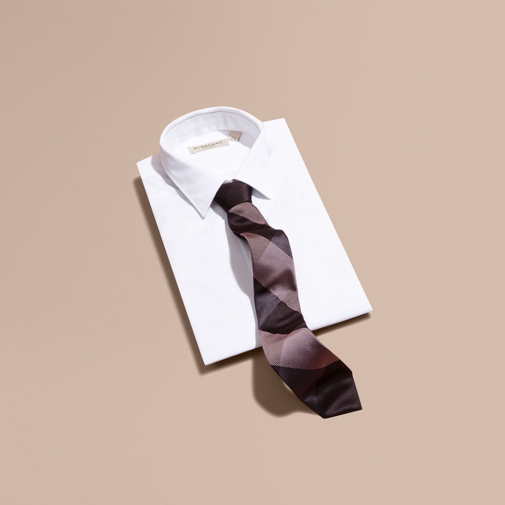 Heather Modern Cut Check Jacquard Silk Tie - gallery image 3