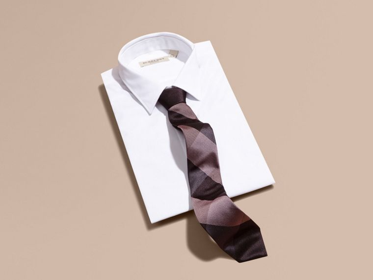 Heather Modern Cut Check Jacquard Silk Tie - cell image 2