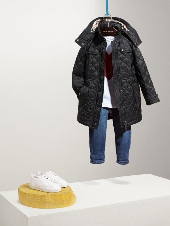 Trench coat acolchado a rombos (Negro)