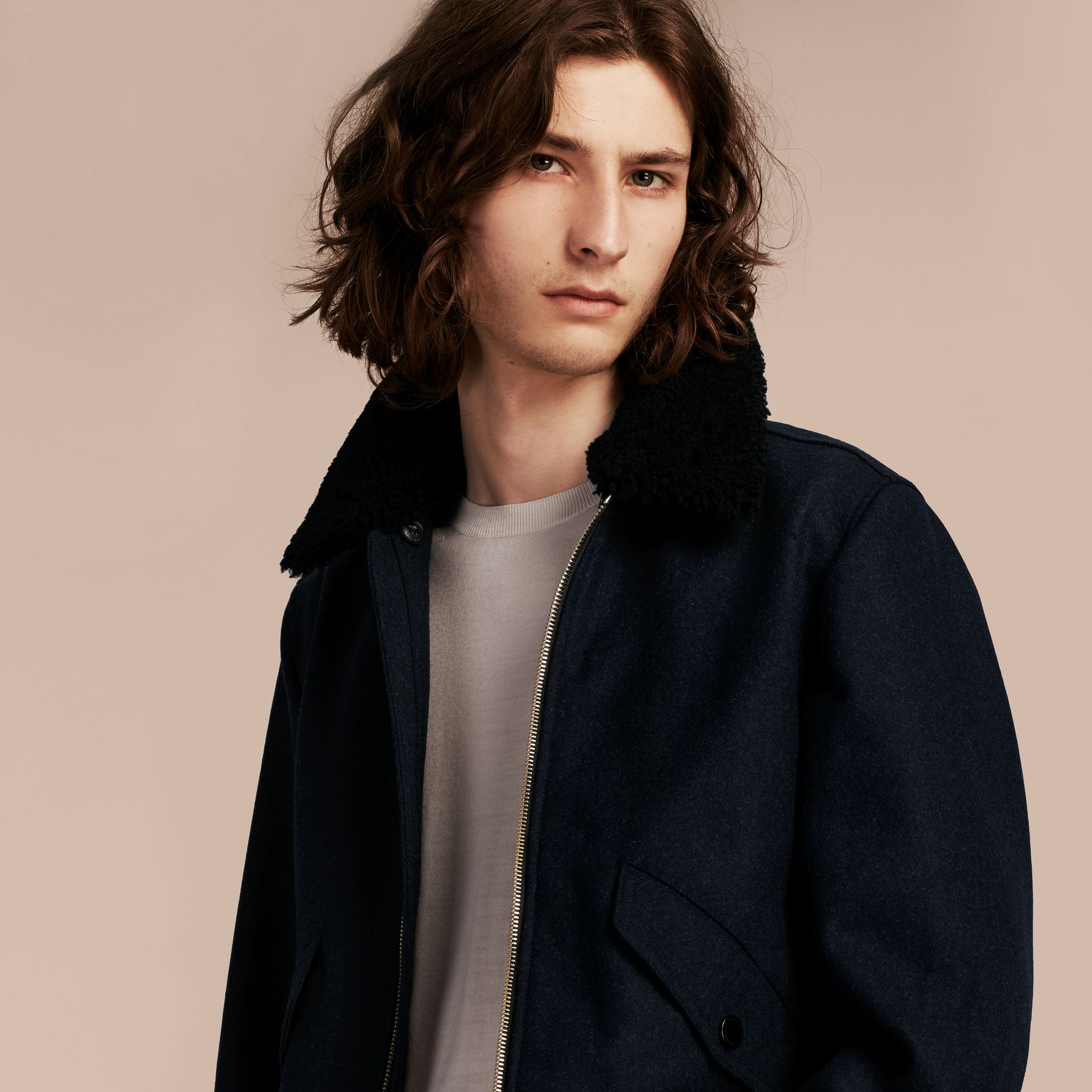 Navy melange Lightweight Wool Bomber Jacket with Detachable Shearling Top Collar - gallery image 7