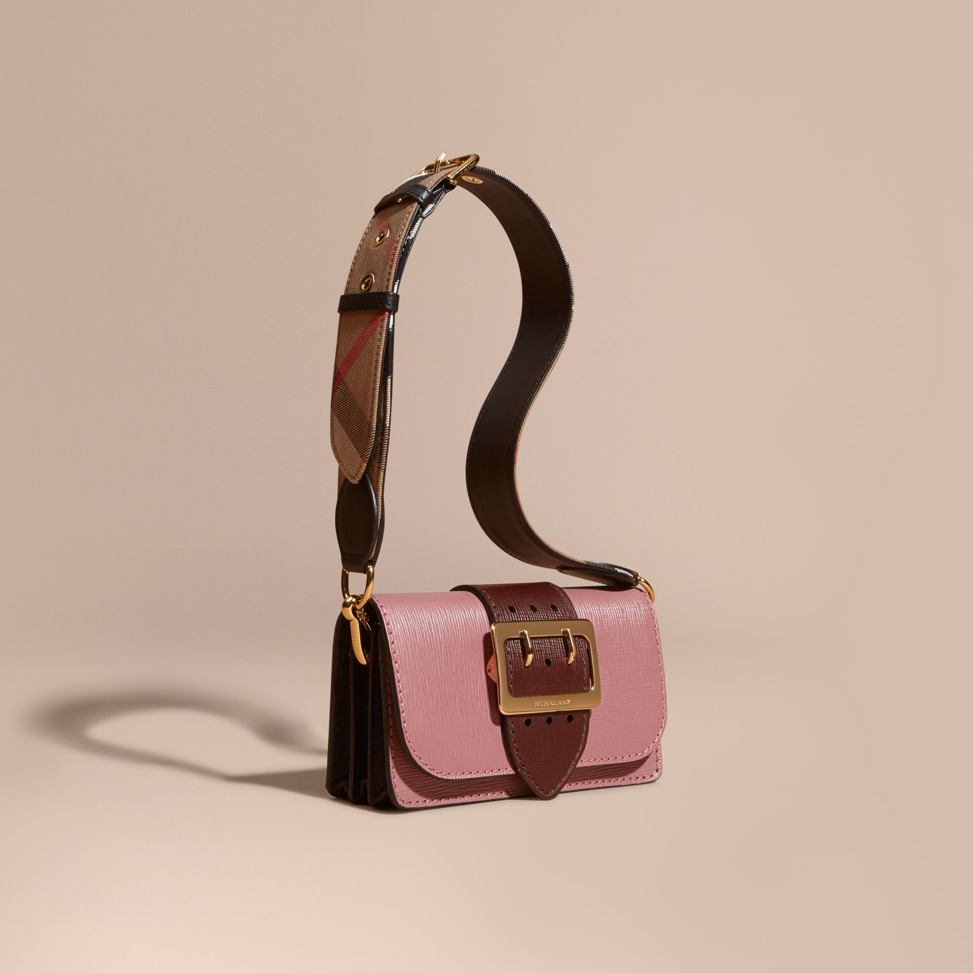 The Small Buckle Bag in Textured Leather Dusky Pink/ Burgundy - gallery image 1