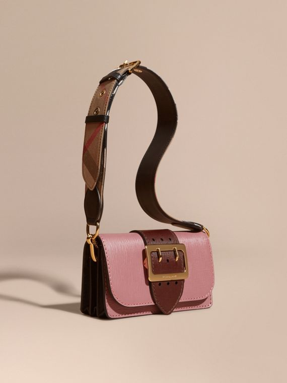 The Small Buckle Bag in Textured Leather Dusky Pink/ Burgundy