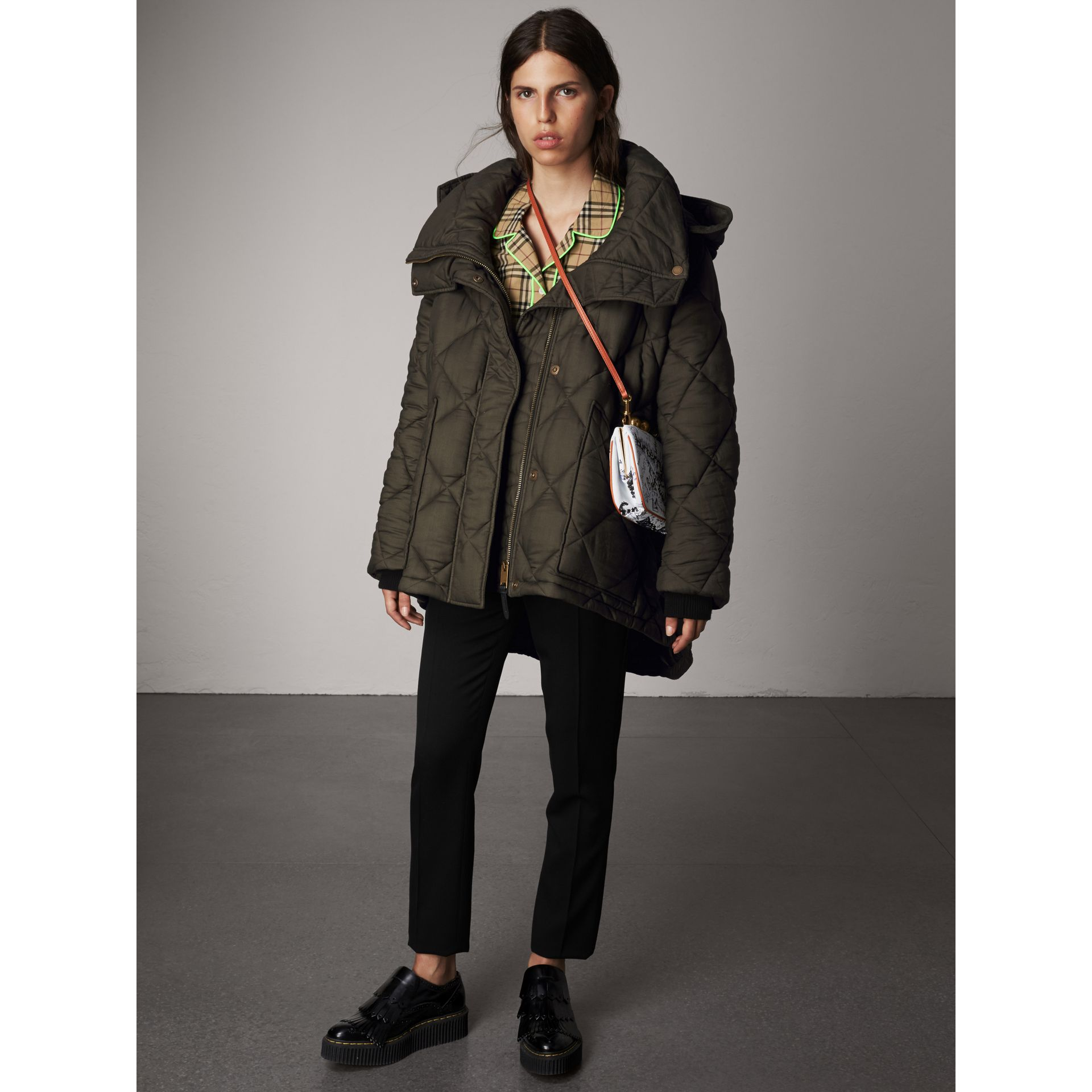 Detachable Hood Oversized Quilted Jacket in Olive - Women | Burberry - gallery image 0