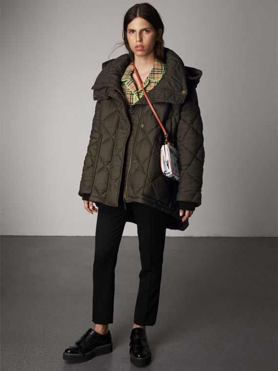 Detachable Hood Oversized Quilted Jacket in Olive