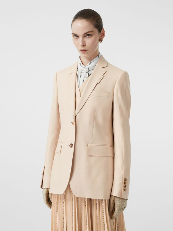 Waistcoat Detail Mohair Silk Blend Blazer in Sesame - Women | Burberry - cell image 3