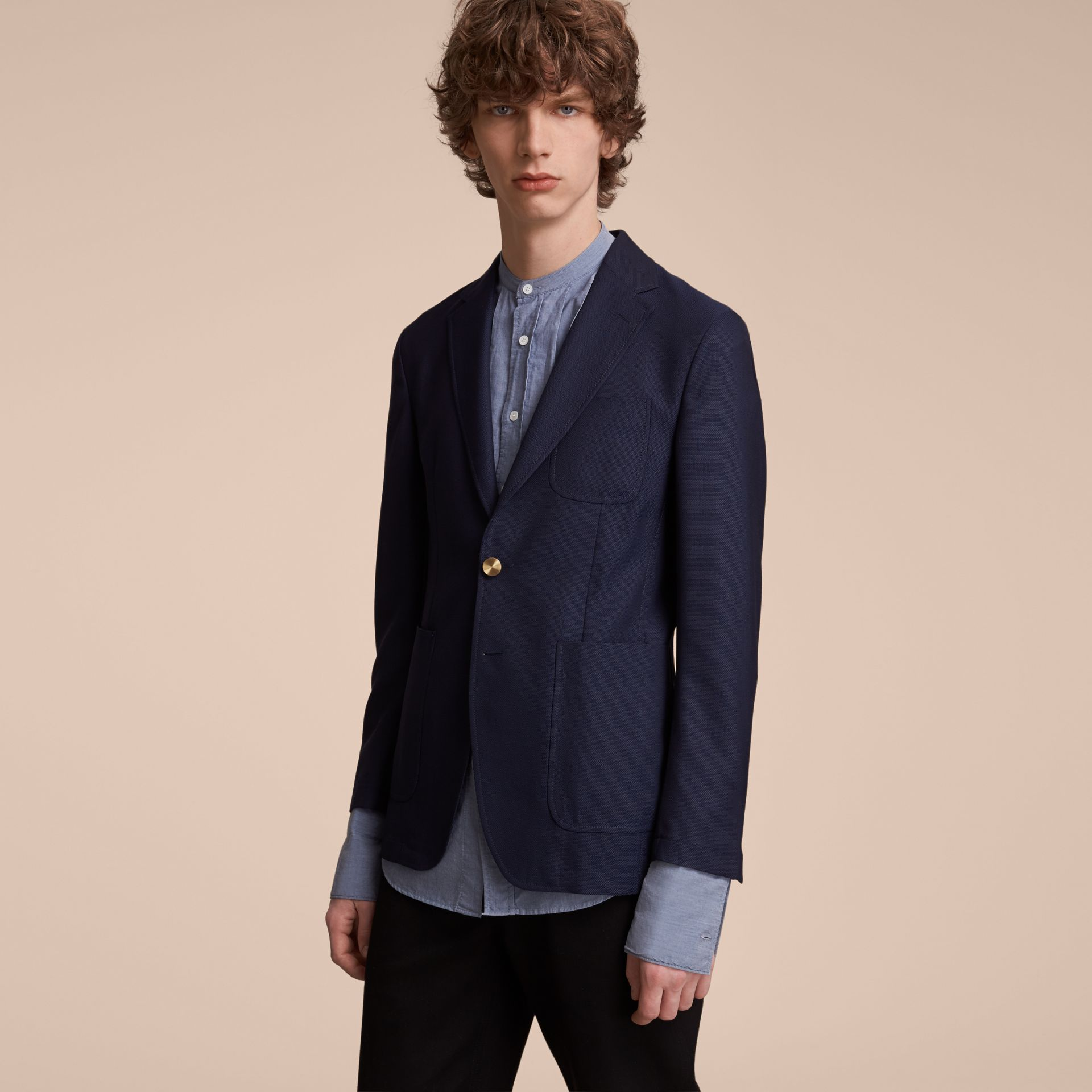 Slim Fit Wool Hopsack Tailored Jacket in Navy - Men | Burberry Australia - gallery image 6