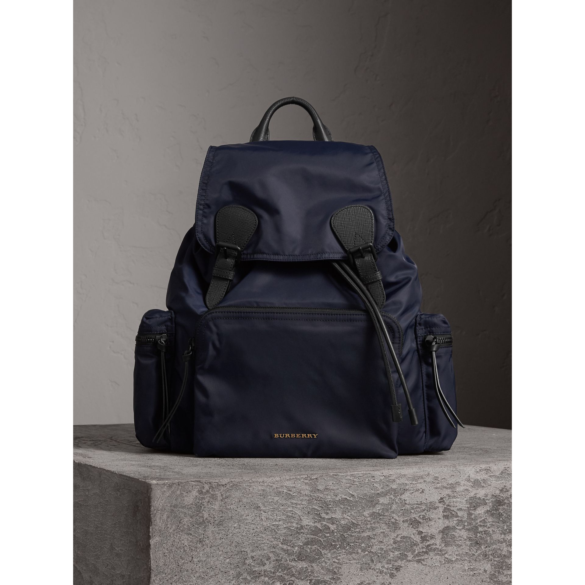The Extra Large Rucksack in Technical Nylon and Leather in Ink Blue - Men | Burberry - gallery image 3