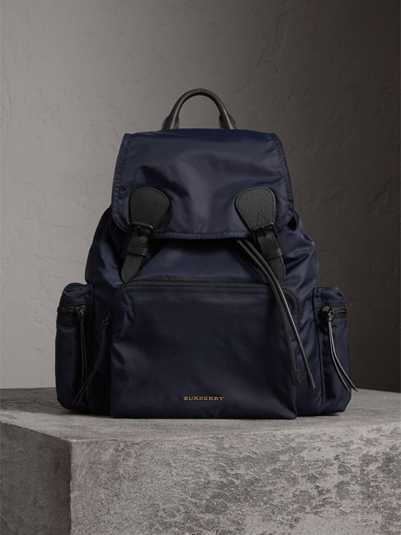 The Extra Large Rucksack in Technical Nylon and Leather in Ink Blue - Men | Burberry - cell image 2