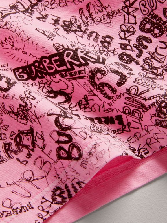 Doodle Print Cotton Jersey T-shirt in Bright Rose | Burberry - cell image 1