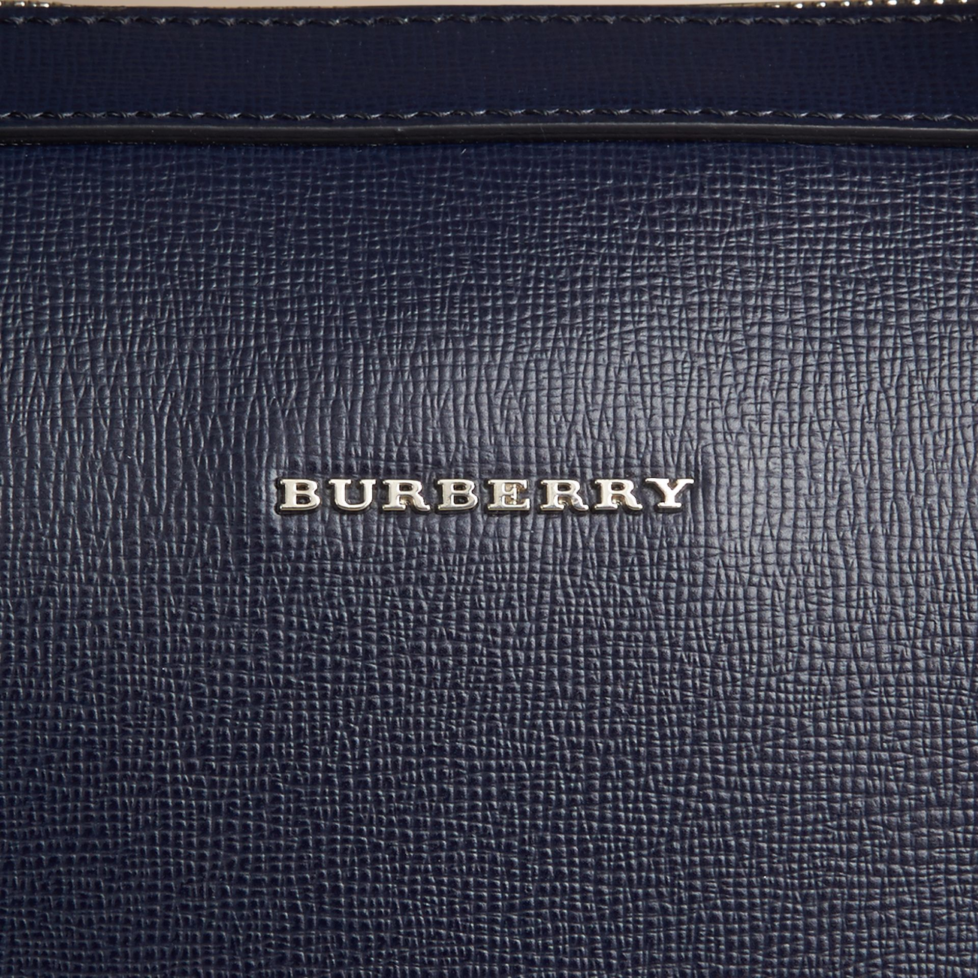 London Leather Briefcase in Dark Navy - Men | Burberry Canada - gallery image 2
