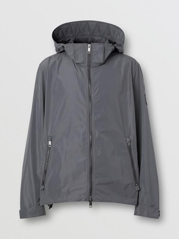 Packaway Hood Shape-memory Taffeta Jacket in Steel Grey