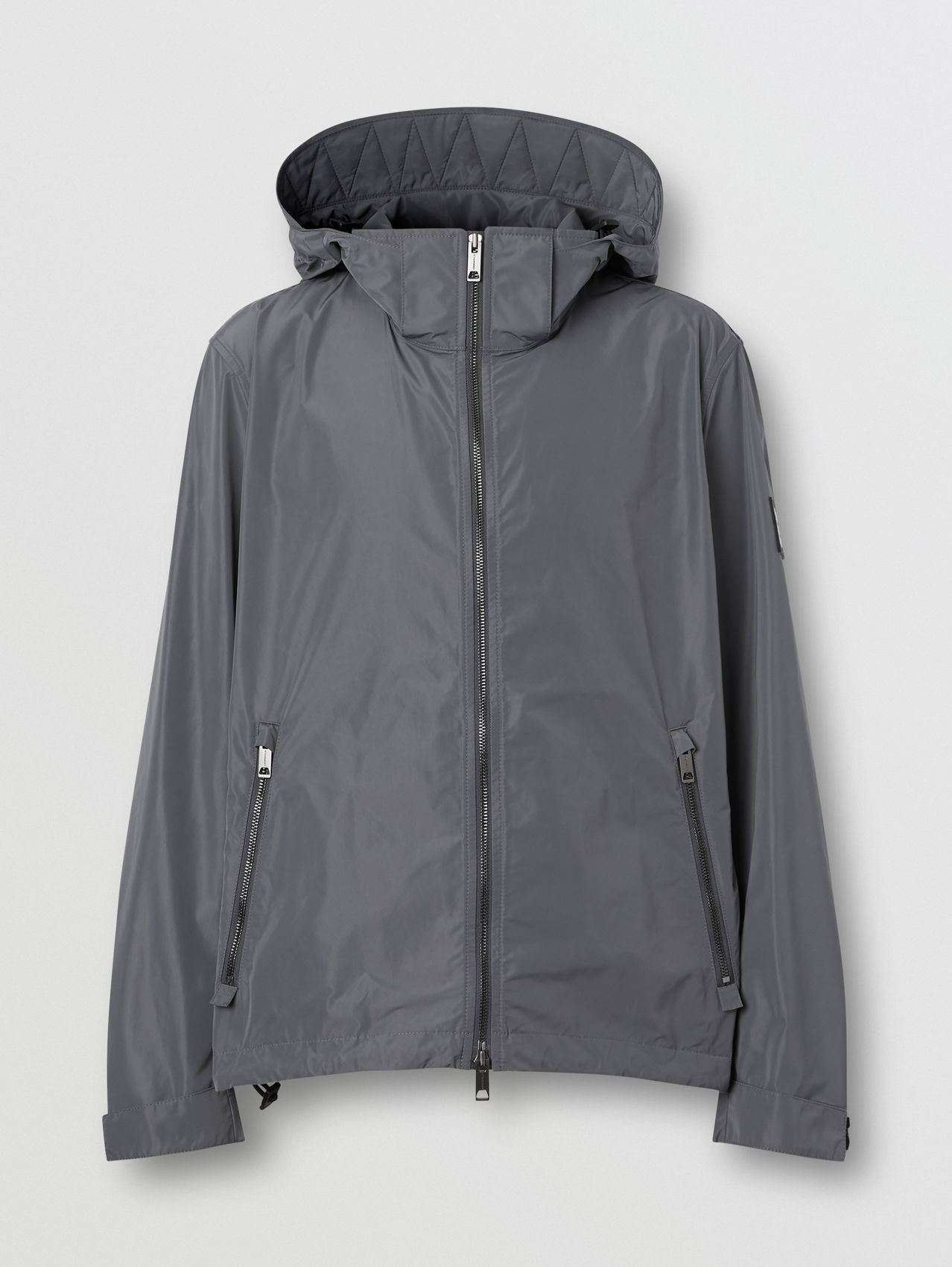 Packaway Hood Shape-memory Taffeta Jacket in Steel Grey