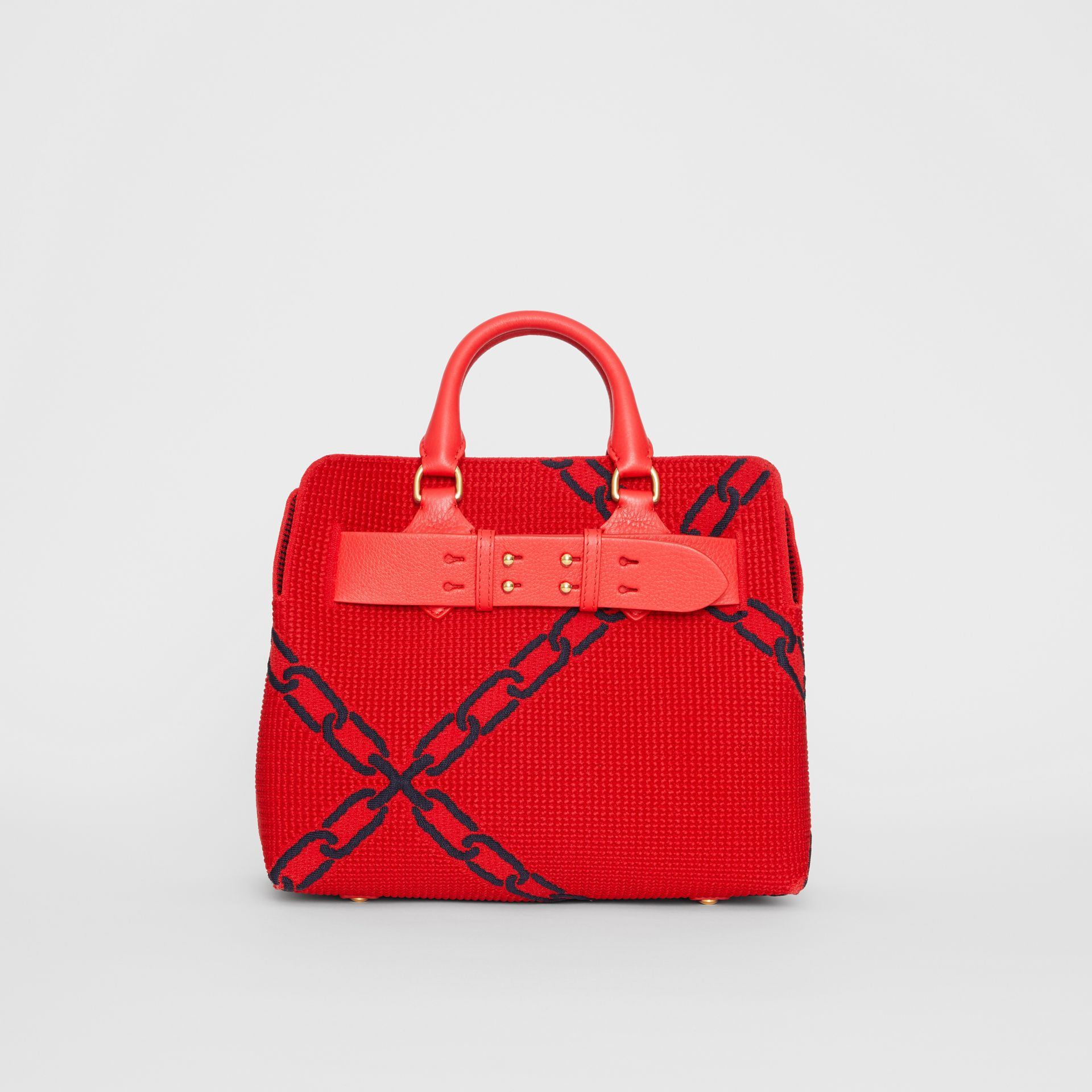 The Small Knitted Link Belt Bag in Bright Red/blue - Women | Burberry - gallery image 0