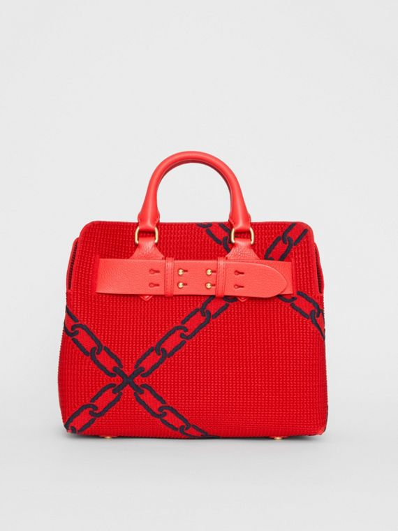 The Small Knitted Link Belt Bag in Bright Red/blue