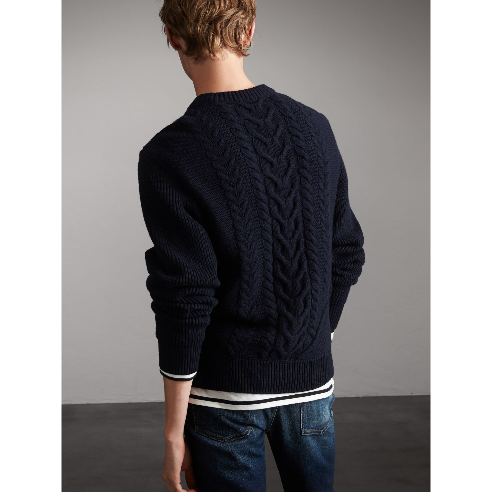 Cashmere Sweater with Cable Knit Detail - Men | Burberry - gallery image 3